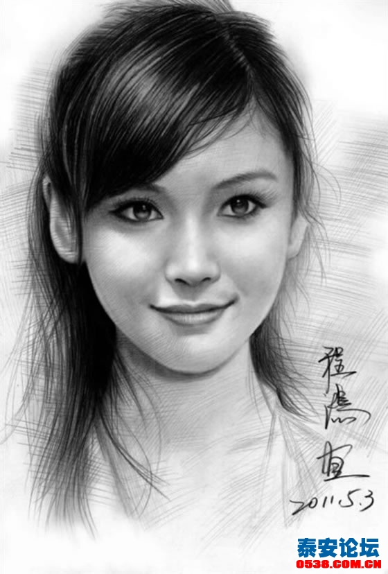 现代女人铅笔画