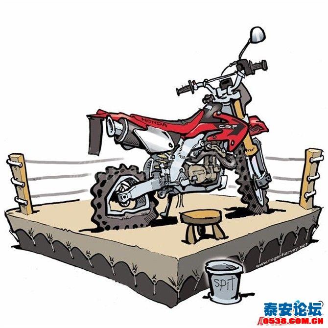 卡通越野摩托图