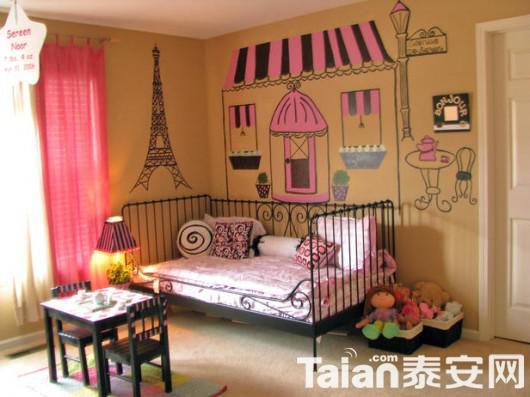 欧式巴黎风格的女孩子的卧室