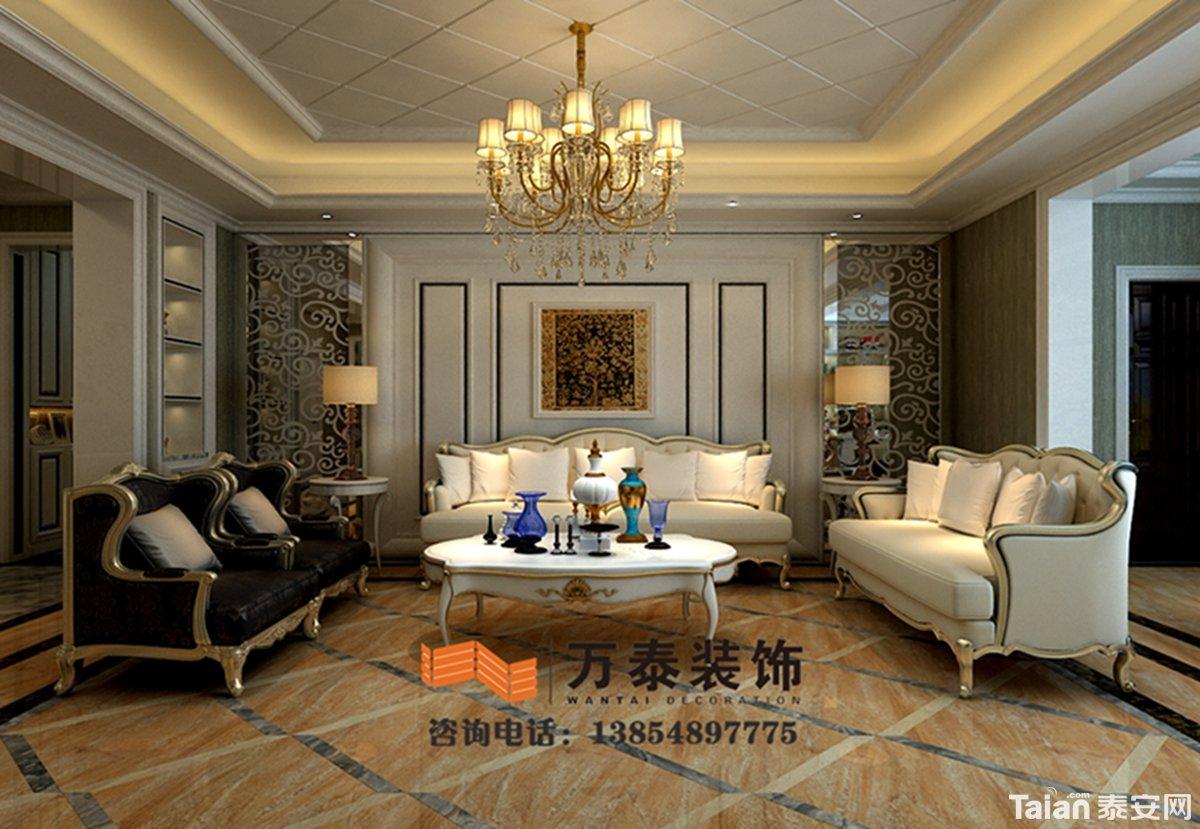 沙发背景墙减掉了复杂的欧式护墙板使用了提炼过的