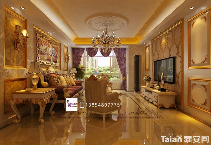 棕色,金色与米白的配色,表现出欧式风格的华贵气质.