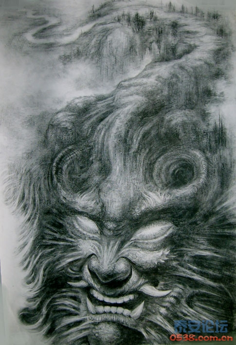 素描画画的老虎照片